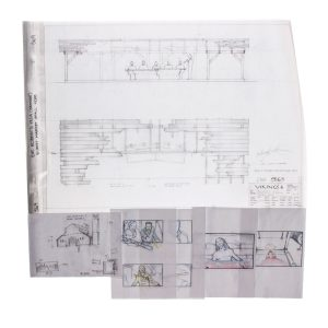 Lot #42 – Vikings Production Used Concept Art Of Wesex Attack King Ebert & Sigurds Death Storyboards