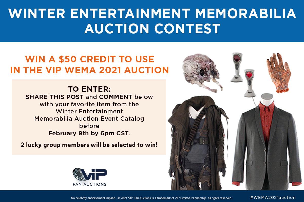 WINTER ENTERTAINMENT MEMORABILIA AUCTION CONTEST