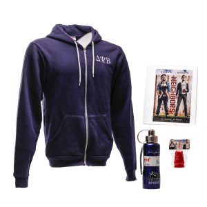 Lot #110 – Neighbors (I) (2014) Production Used Storyboard Binder Hooded Sweater Thermos & Shot Glasses