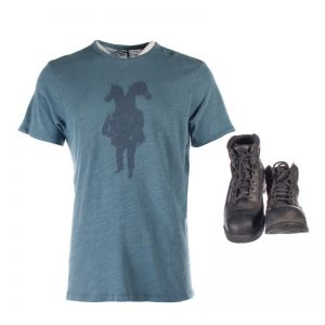Lot #31 – Bill & Ted Face The Music (2020) Bill Production Made Shirt & Stunt Double Boots