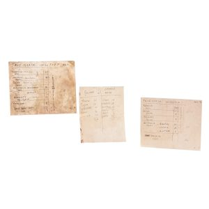 Lot #50 –  Black Sails (2014-2017) Rackham Toby Schmitz Screen Used Colonial Dawn List & True North Inventory Pages Ep 206